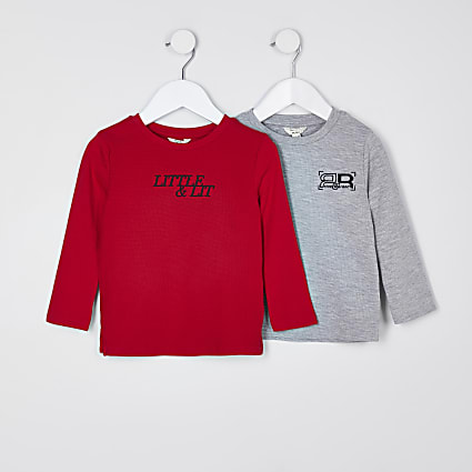 Mini boys red long sleeve tops 2 pack