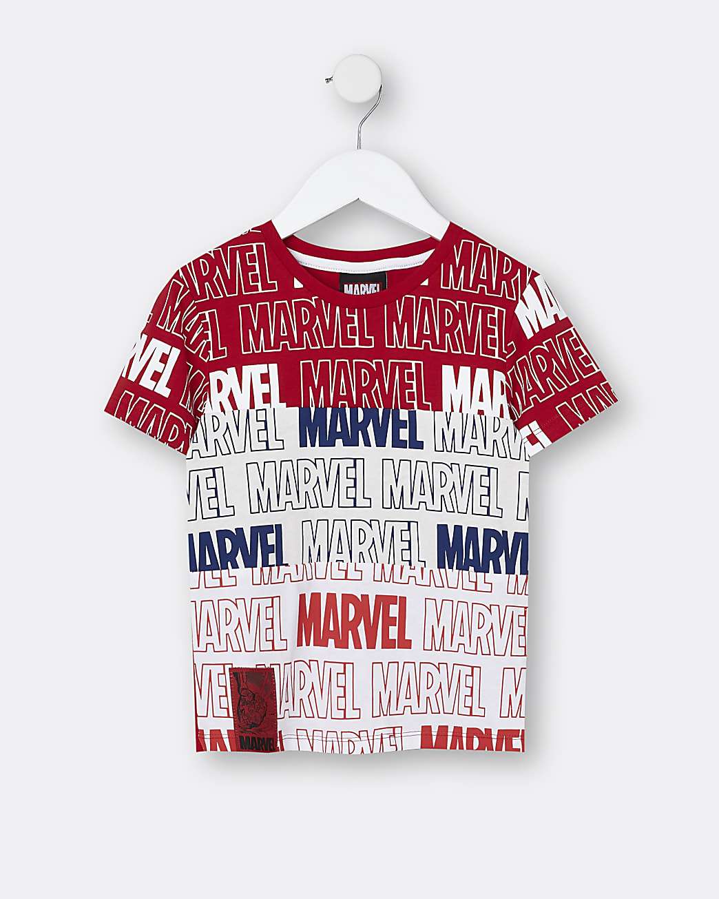 Mini boys red Marvel colour block t-shirt