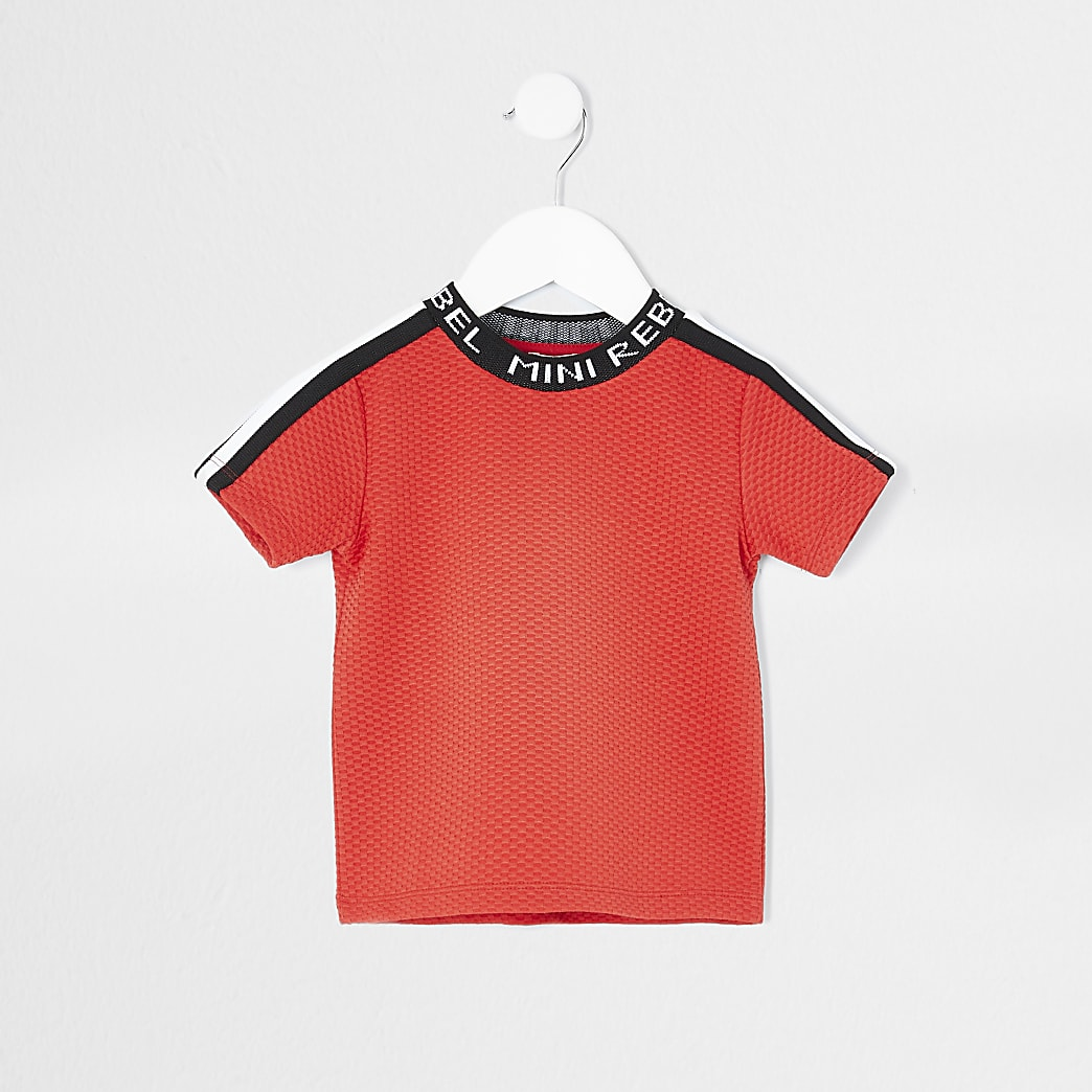 Mini boys red 'Mini rebel' neck t-shirt