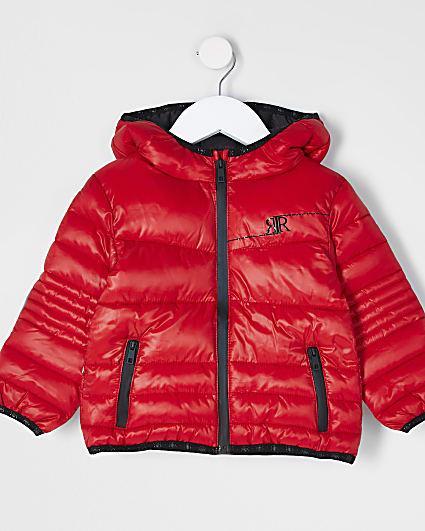 Mini boys red padded jacket