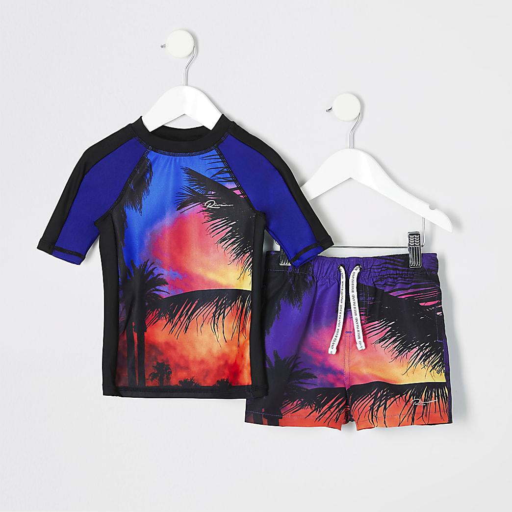 Mini boys red palm print swim top set