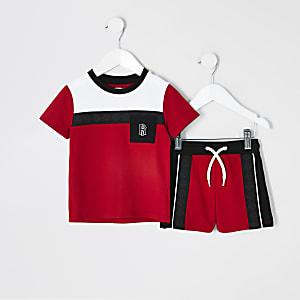 Mini -Set met rood piqué T-shirt met kleurvlakken en borstzak voor jongens