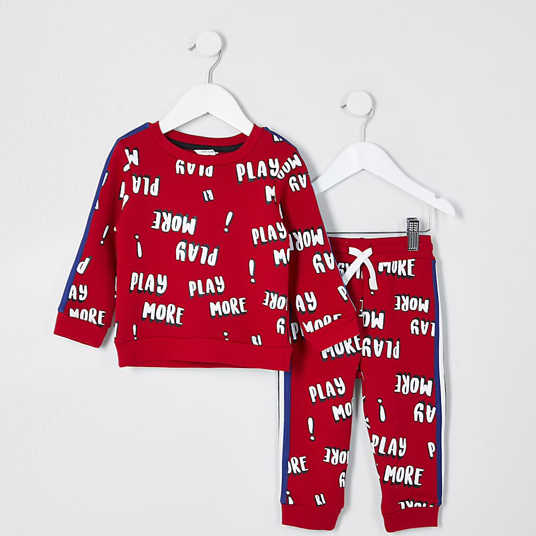 Mini boys red print sweatshirt outfit