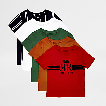 Mini boys red print t-shirts 5 pack