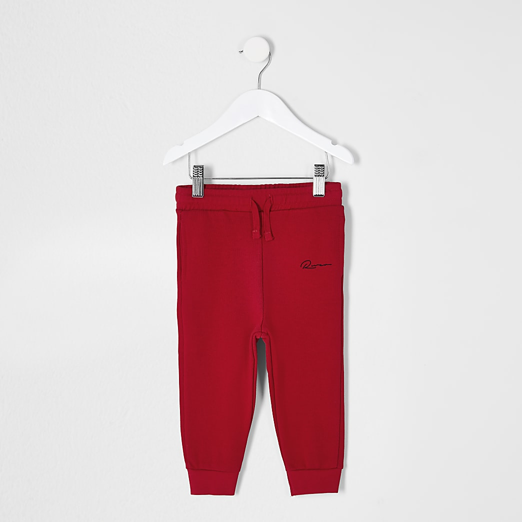 Mini boys red printed joggers