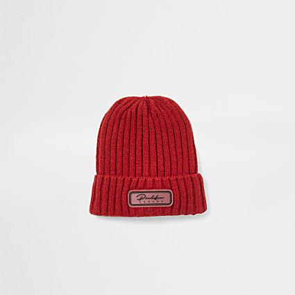 Mini boys red Prolific beanie hat