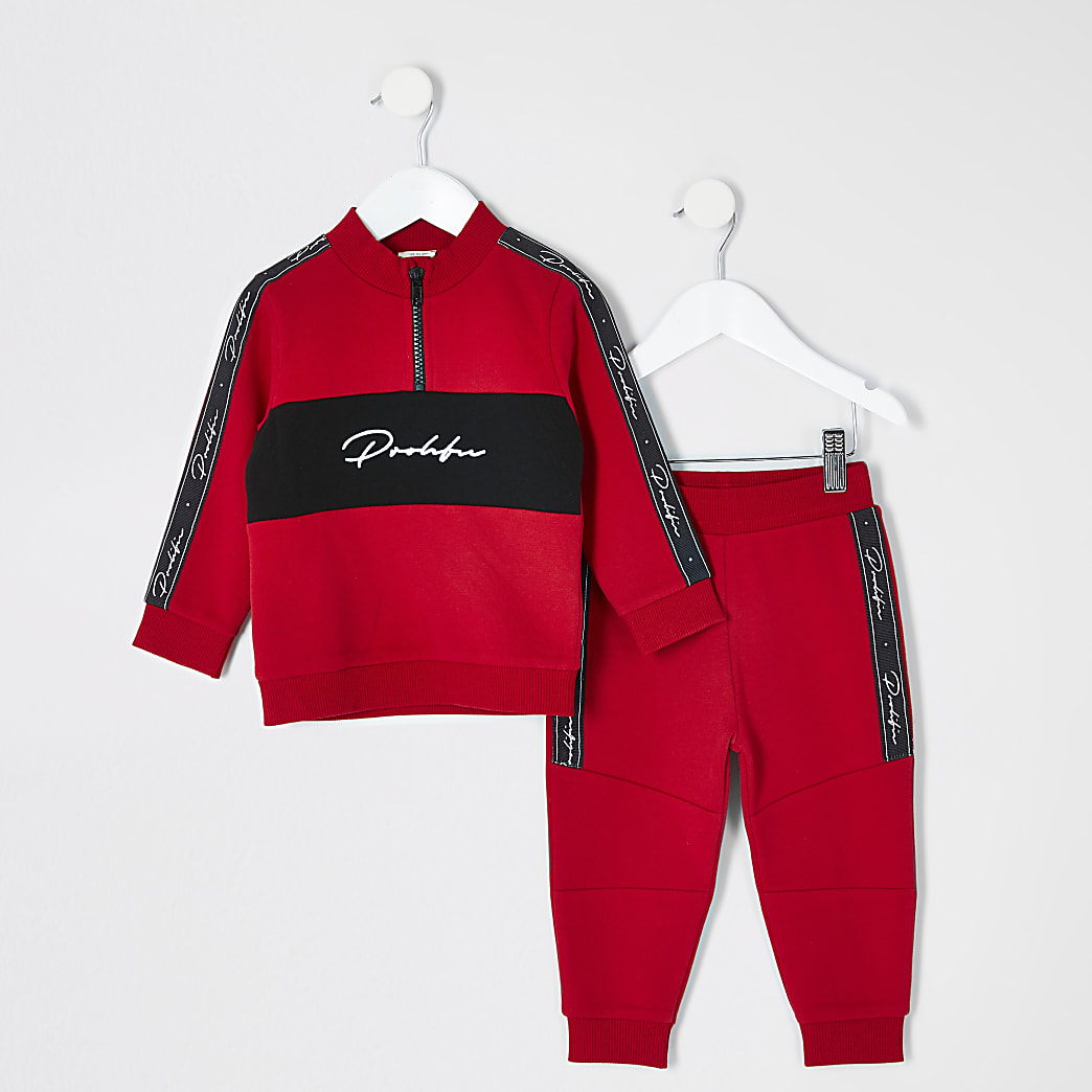 Mini boys red Prolific tape sweatshirt outfit