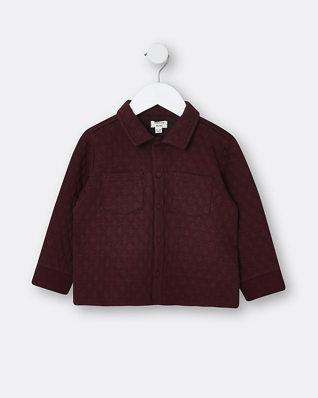 Mini boys red quilted shacket