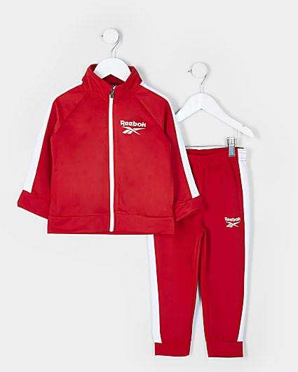 Mini boys red Reebok tracksuit outfit