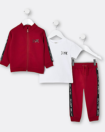 Mini boys red RI 3 piece tracksuit outfit