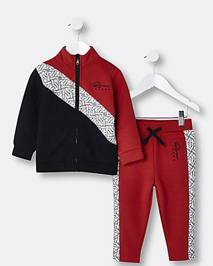 Mini boys red RI colour block tracksuit set