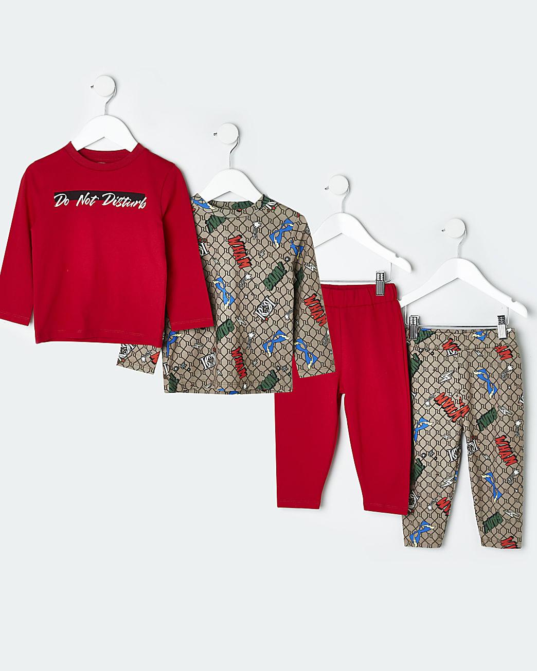 Mini boys red RI graphic pyjama sets 2 pack
