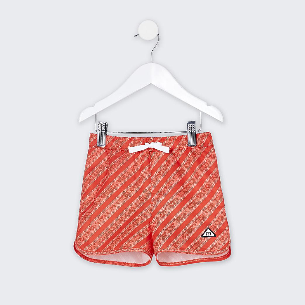 Mini boys red RI monogram swim shorts