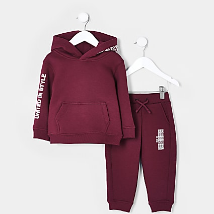 Mini boys red RI One hoodie outfit
