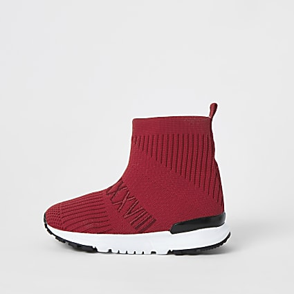 Mini boys red ribbed hi-top sock trainers
