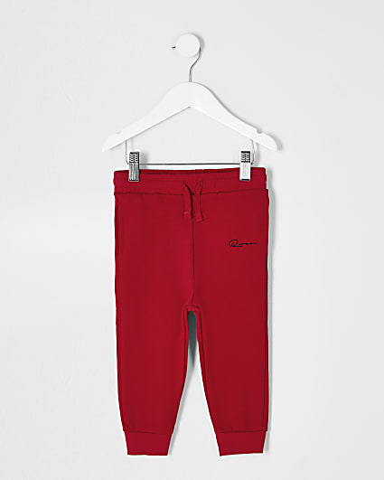 Mini boys red 'River' printed joggers
