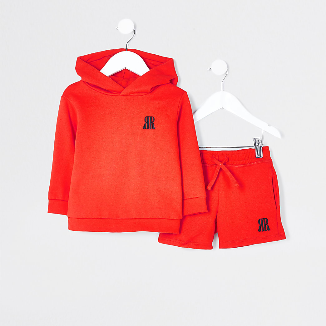 Mini boys red RR hoodie and short outfit