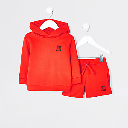 Mini boys red RR hoodie and short set
