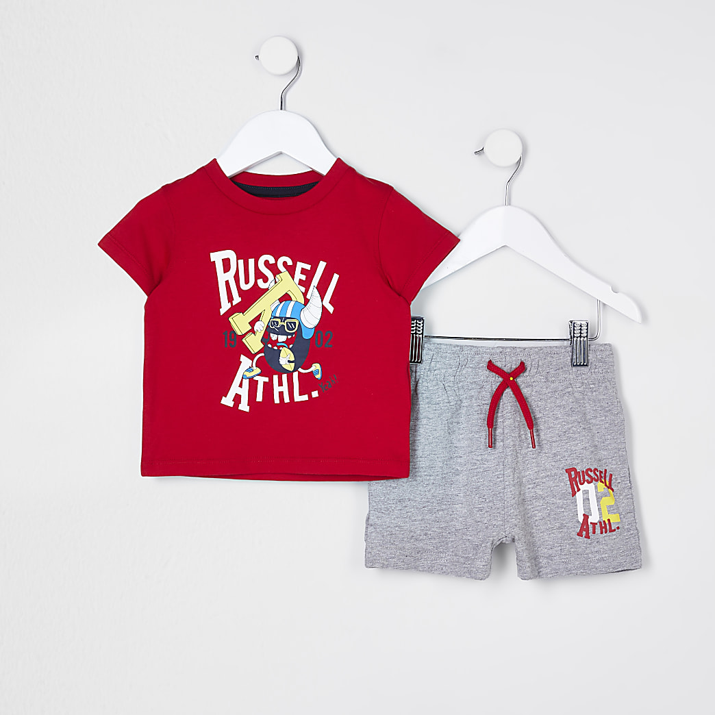 Mini boys red Russell Athletic t-shirt set