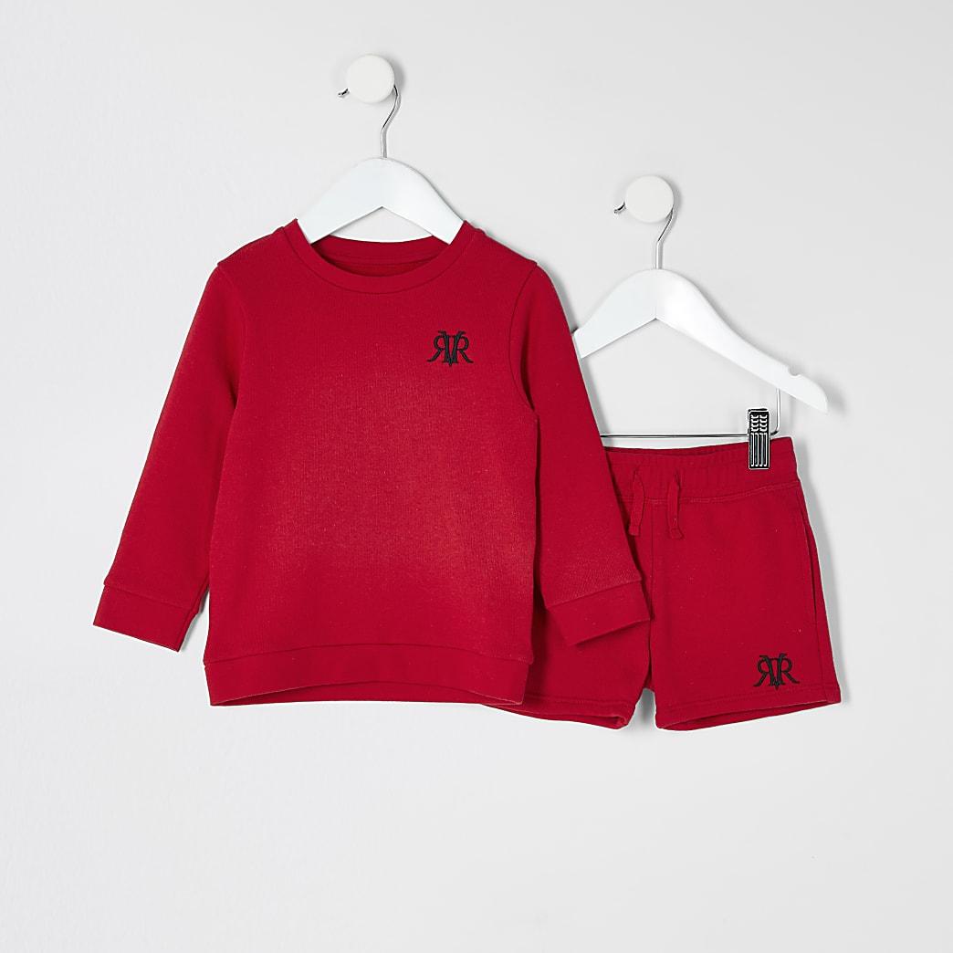 Mini - Rode sweater outfit met RVR-print voor jongens