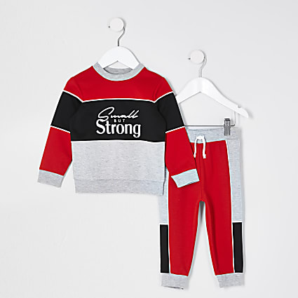 Mini boys red 'Strong' outfit