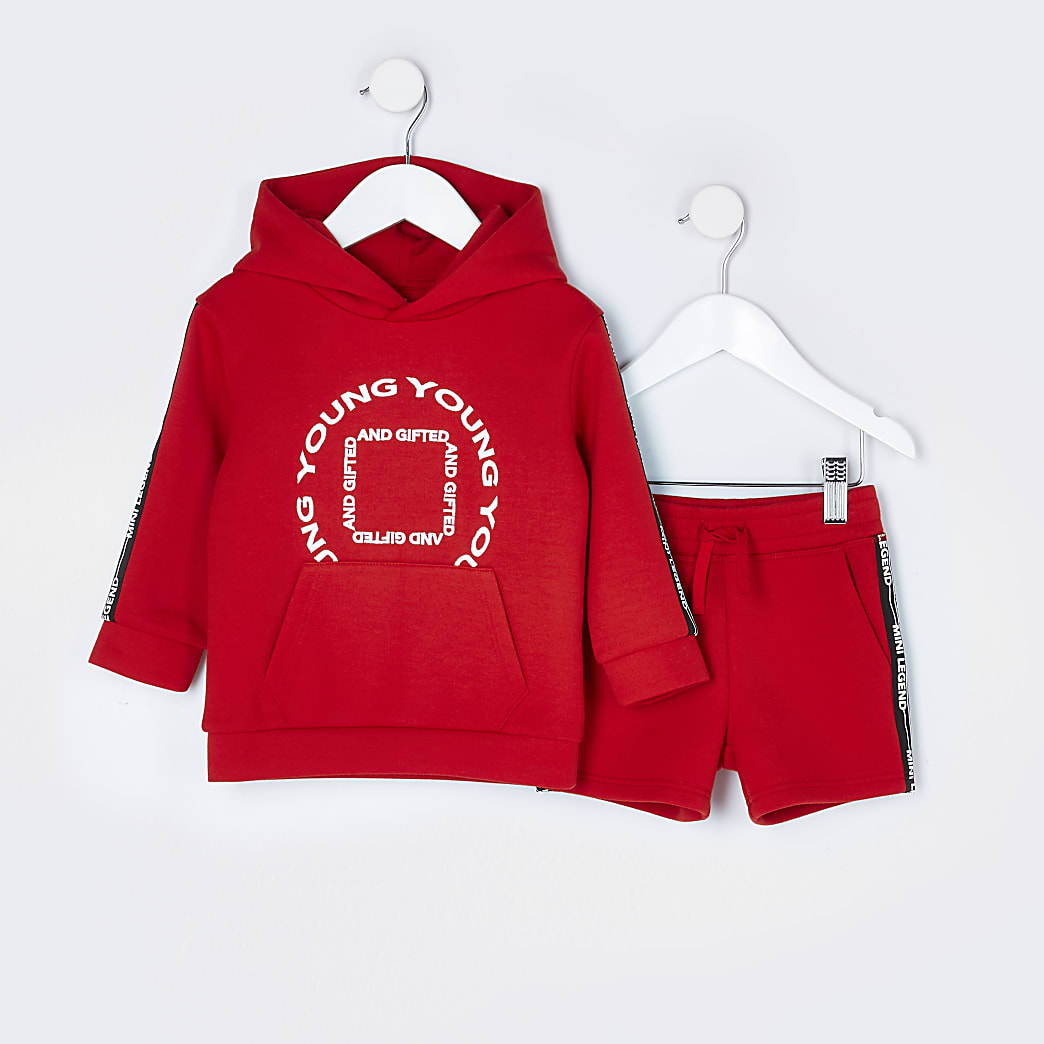 Mini boys red taped hoodie outfit