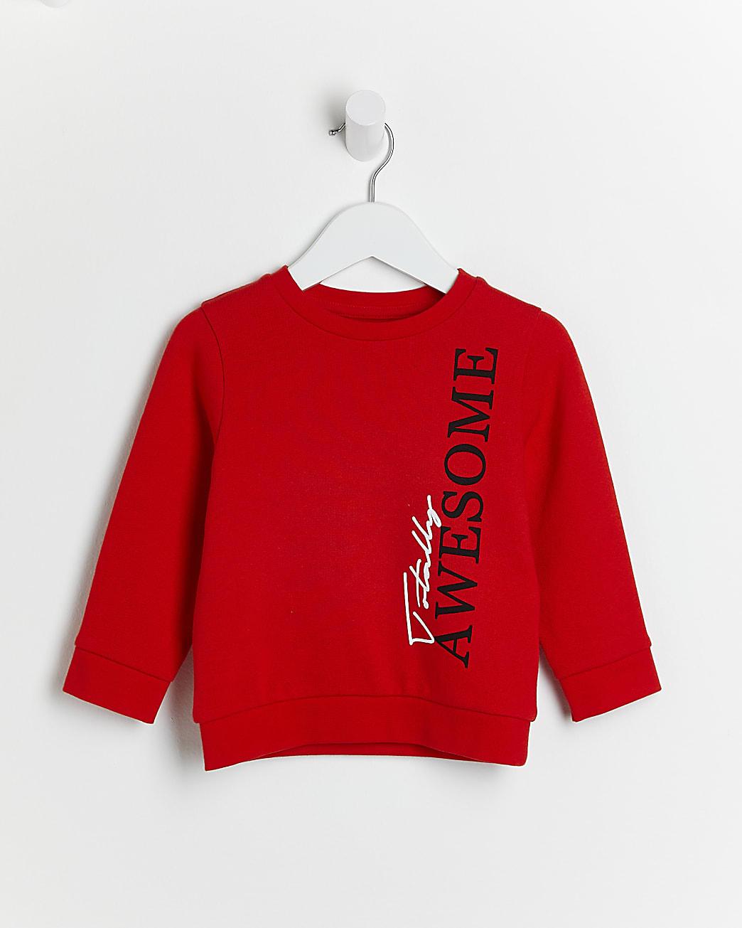 Mini boys red 'Totally Awesome' sweatshirt