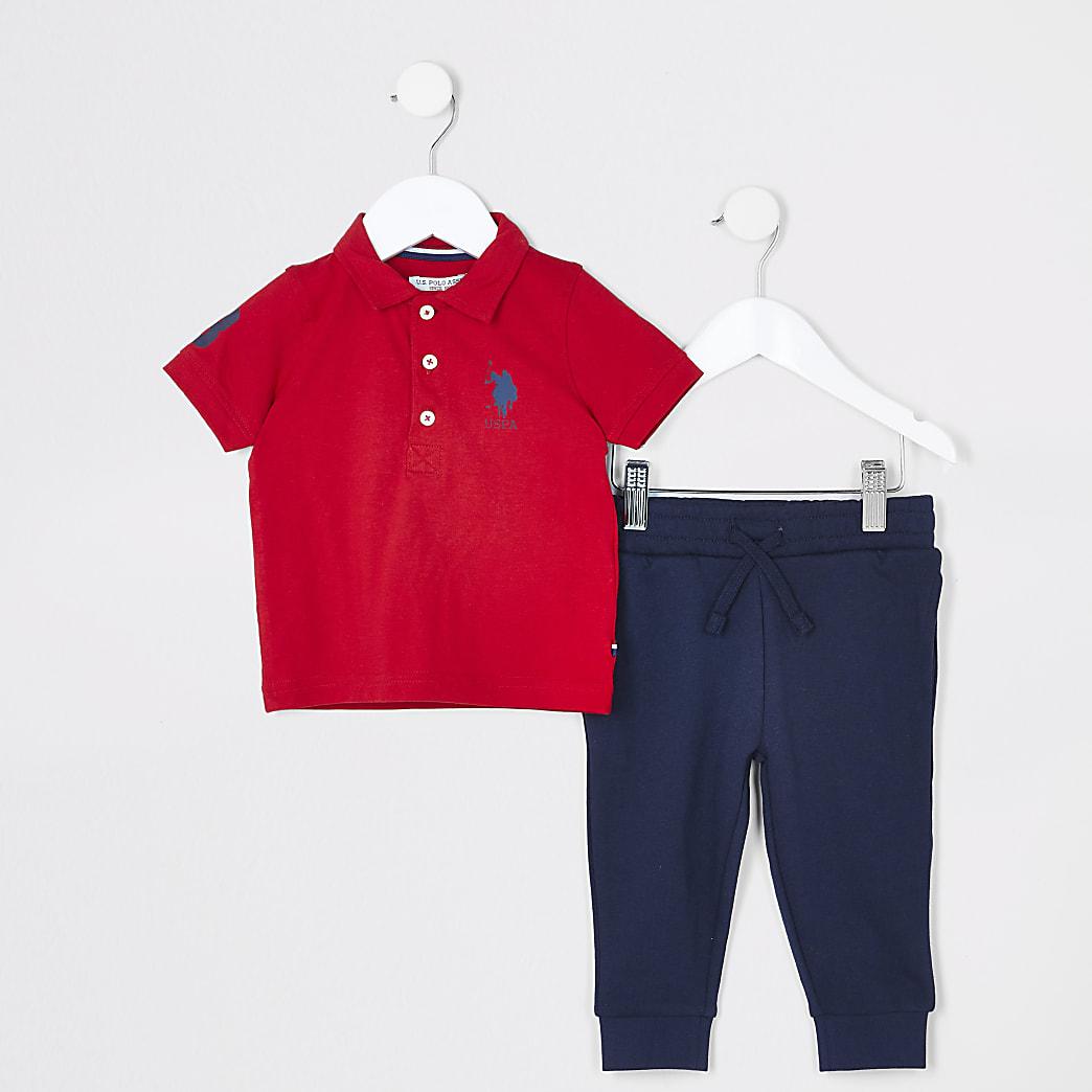 Mini boys red USPA polo shirt outfit