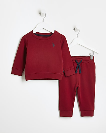 Mini boys red USPA sweatshirt and joggers set