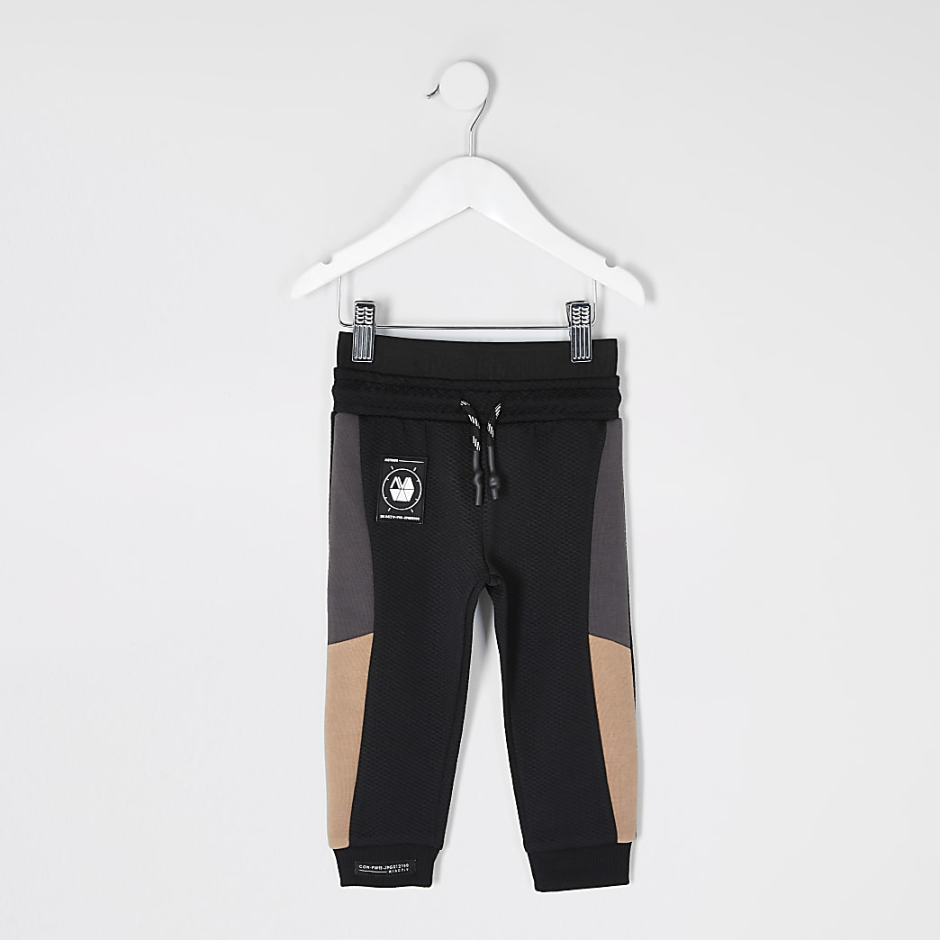 Mini boys RI Active black blocked joggers