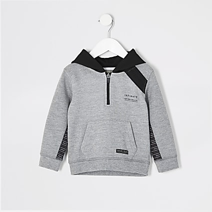 Mini boys RI Active grey tape hoodie