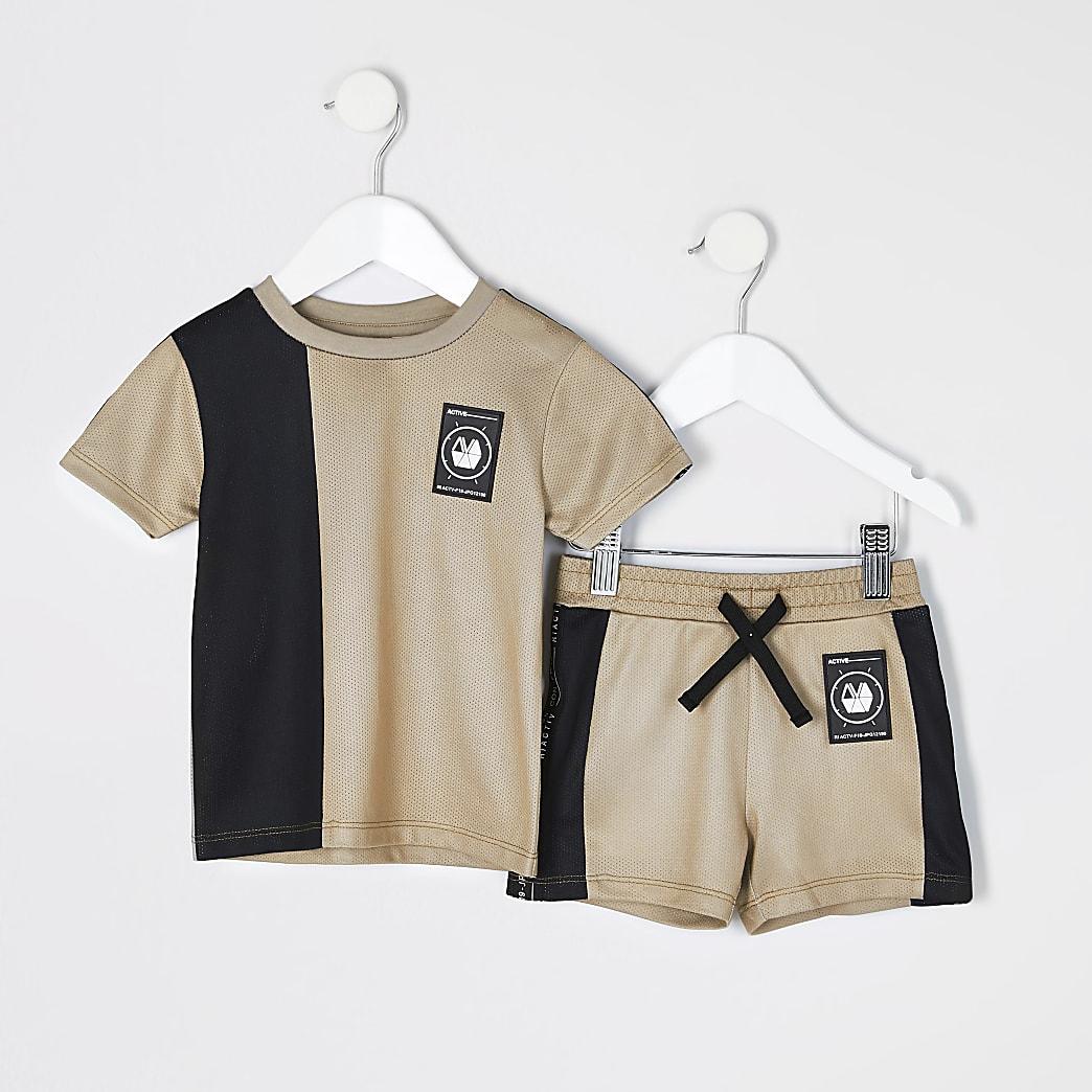 RI Active- Kiezelgrijze outfit met mesh T-shirt voor mini-jongens