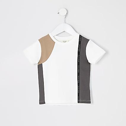 Mini Boys RI Active white block tape T-shirt