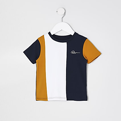 Mini boys 'River' navy colour blocked t-shirt