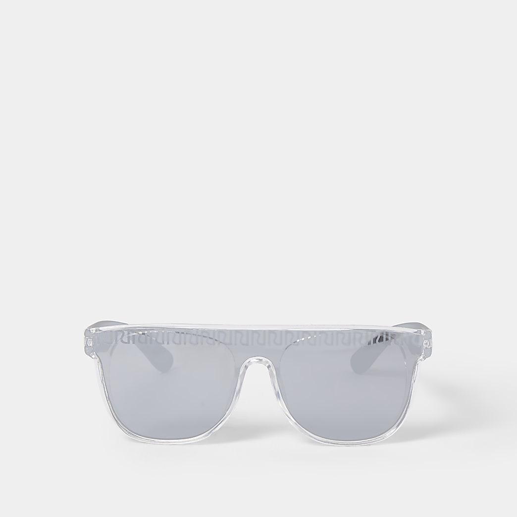 Mini boys silver RI etched visor sunglasses