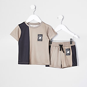 Mini boys stone active mesh t-shirt set
