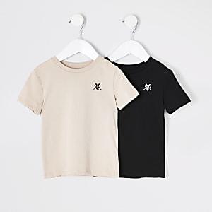 Mini - Zwart en kiezelkleurig RVR T-shirt voor jongens set van 2
