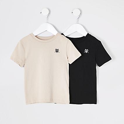 Mini boys stone and black RVR T-shirt 2 pack