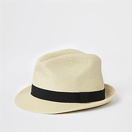 Mini boys stone badge embellished trilby hat