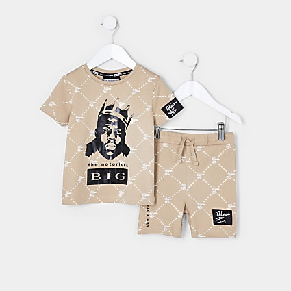 Mini boys stone Biggie shorts outfit