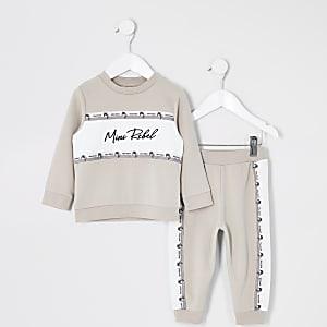 Mini - Kiezelkleurige outfit met sweater met kleurvlakken voor jongens