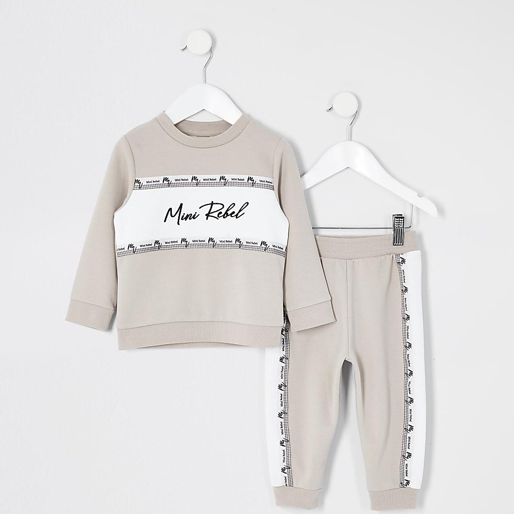 Mini boys stone blocked sweatshirt outfit