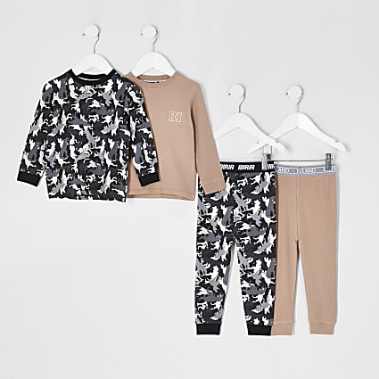 Mini boys stone camo pyjama set