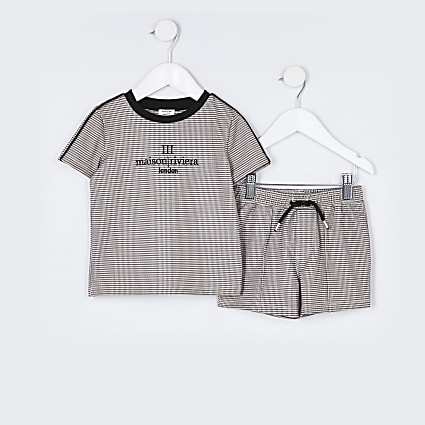 Mini boys stone check 'Maison' short outfit