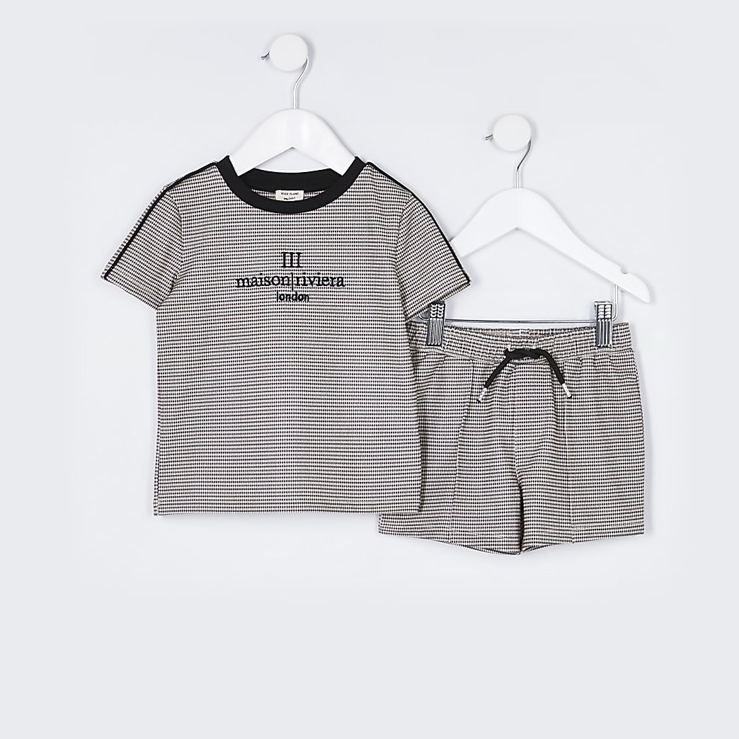 Mini boys stone check 'Maison' short outfit