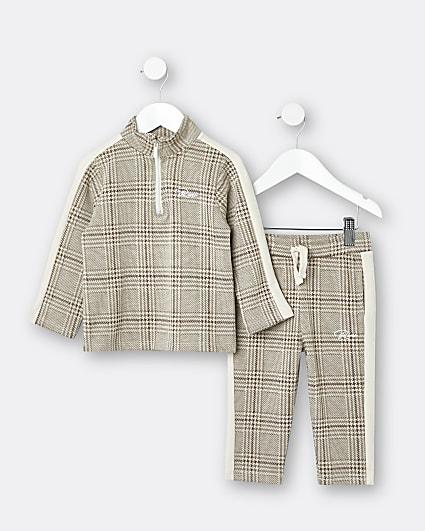 Mini boys stone check print tracksuit outfit