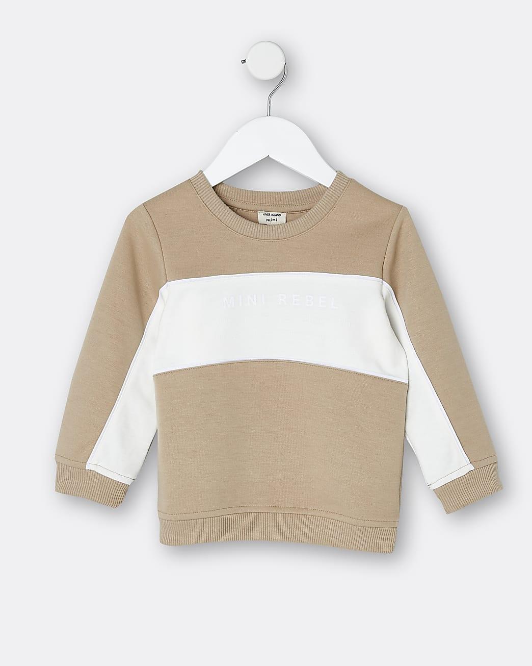 Mini boys stone colour block sweatshirt