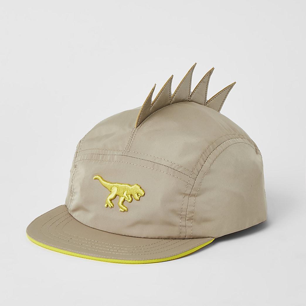 Mini - Kiezelkleurige pet met dinousaurusprint en 5 vlakken voor jongens