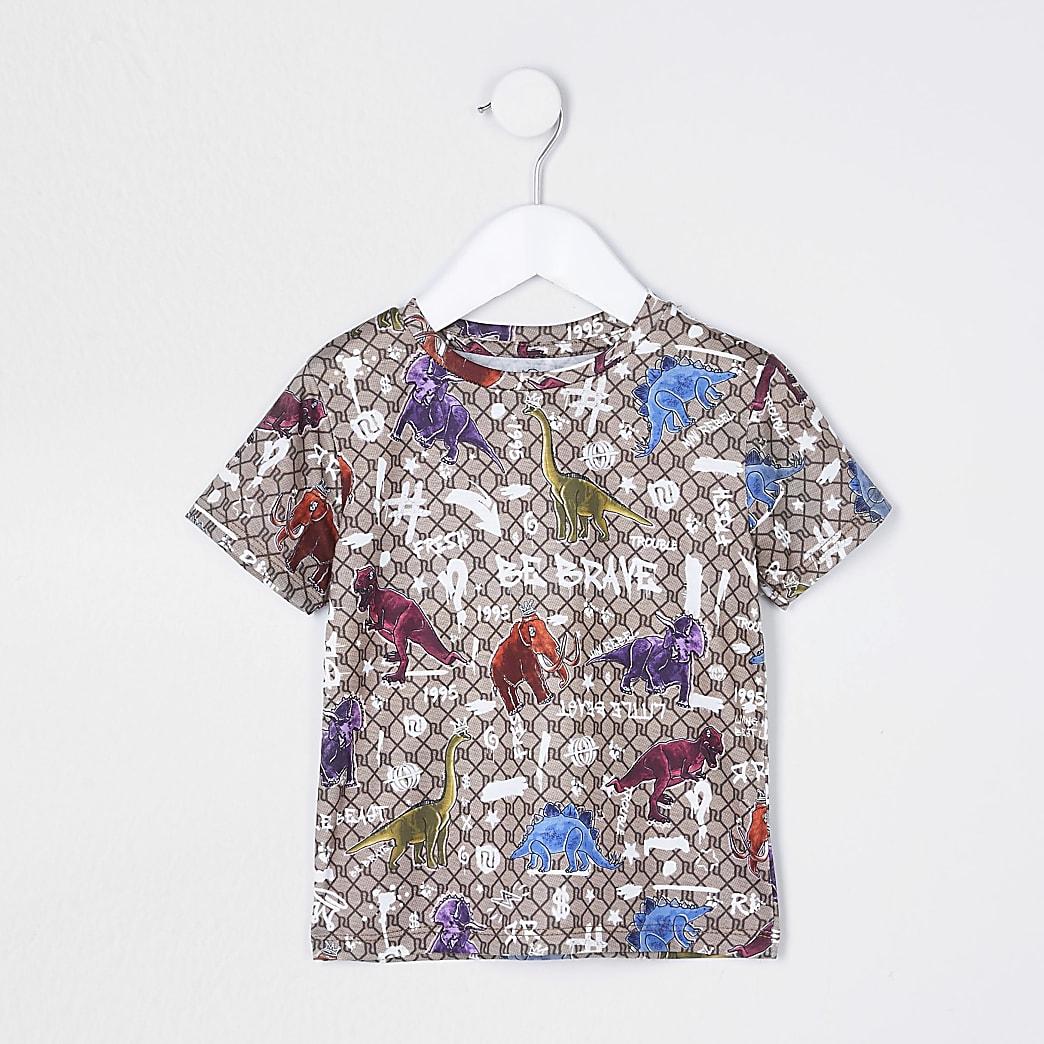 Mini boys stone dinosaur RI monogram t-shirt