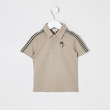 Mini boys stone dogtooth tape polo shirt
